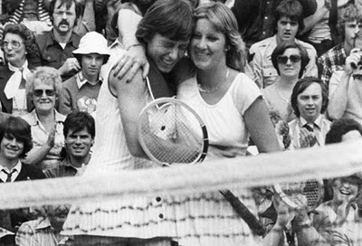 Chris Evert and Martina Navratilova. Good friends off the courts but had one of the best sports rivalries in history.