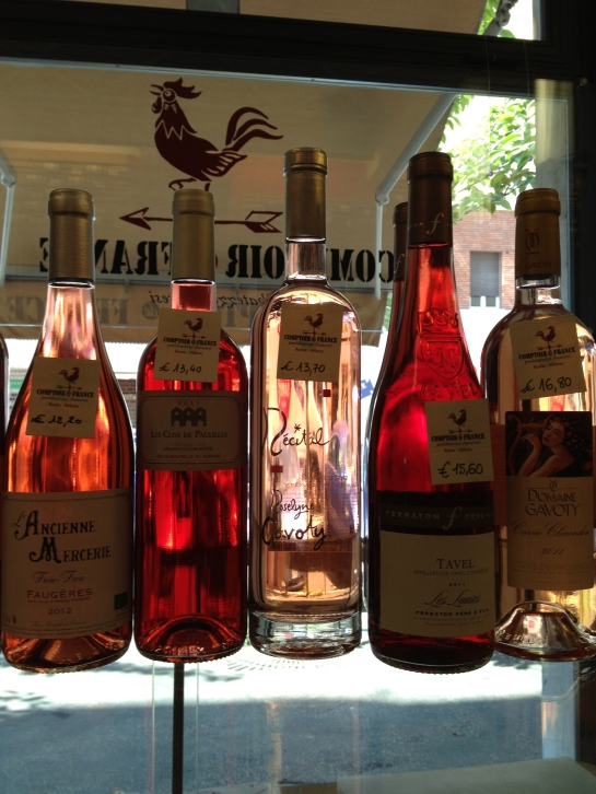 Some rosés at the fantastic wine shop, Comptoir France, in Rome,