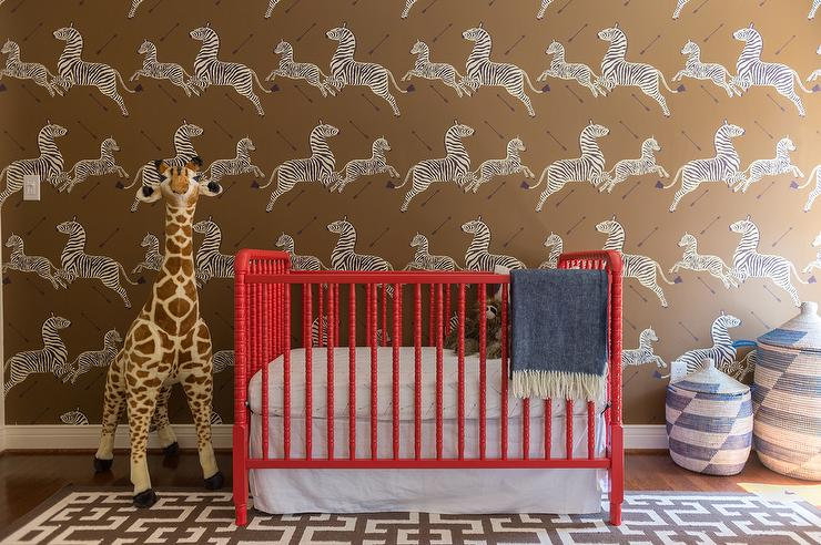 zebra-nursery-wallpaper-red-jenny-lind-crib-senegalese-hamper-baskets